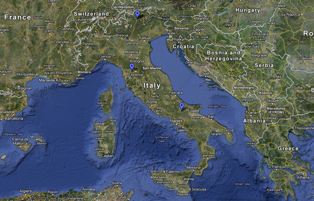 Map of Italy - Pinned Locations