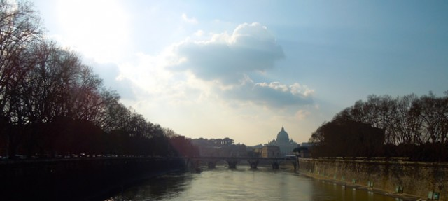Over looking the Tiber River to the Vatican City in Italy