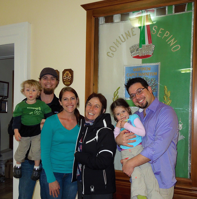 Our Family, Mena the Mayor of Sepino, and Peter Farin of italyMONDO! after our final paperwork process.