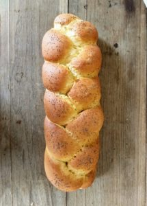 The golden color comes from the free range egg yolks in the Challah
